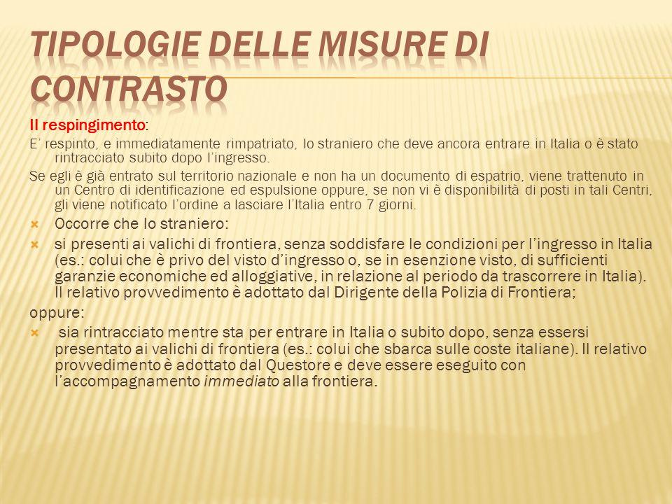 Il respingimento: E' respinto, e immediatamente rimpatriato, lo straniero che deve ancora entrare in Italia o è stato rintracciato subito dopo l'ingre