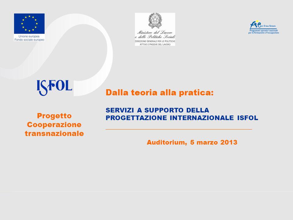Dalla teoria alla pratica: SERVIZI A SUPPORTO DELLA PROGETTAZIONE INTERNAZIONALE ISFOL ________________________________________ Auditorium, 5 marzo 2013 Progetto Cooperazione transnazionale