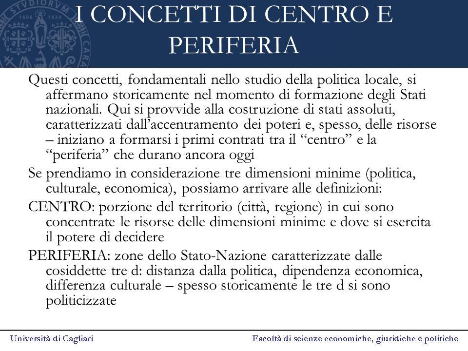I CONCETTI DI CENTRO E PERIFERIA Questi concetti, fondamentali nello studio della politica locale, si affermano storicamente nel momento di formazione