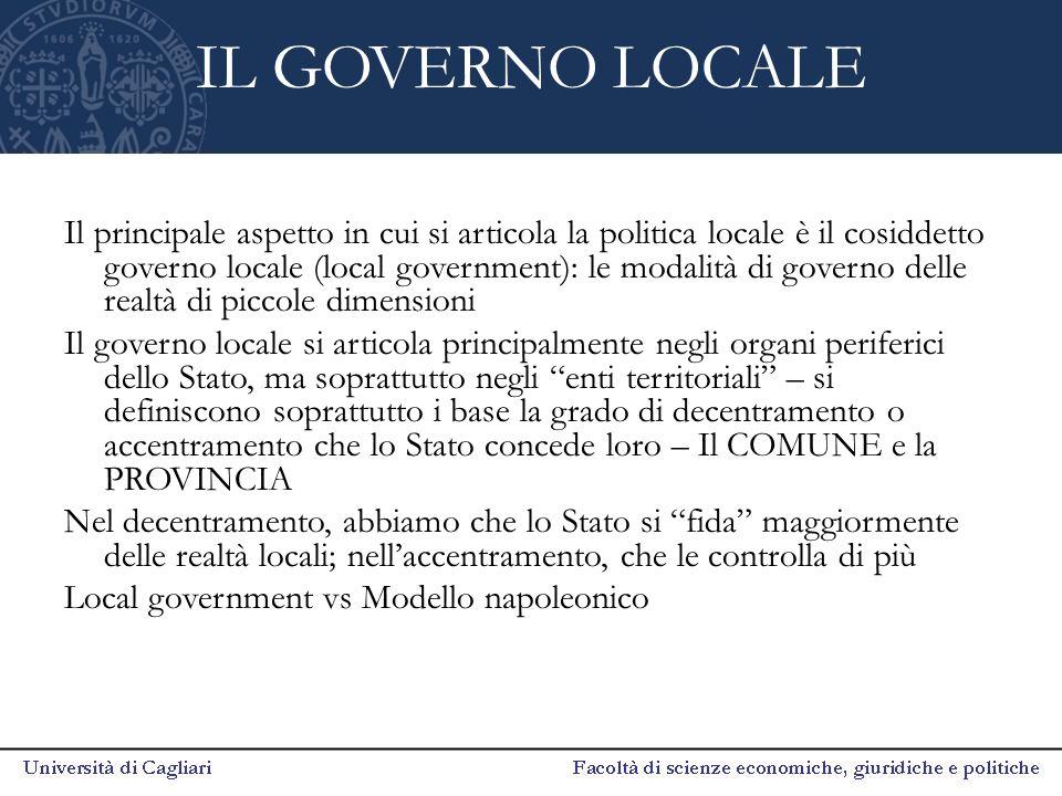 IL GOVERNO LOCALE Il principale aspetto in cui si articola la politica locale è il cosiddetto governo locale (local government): le modalità di govern