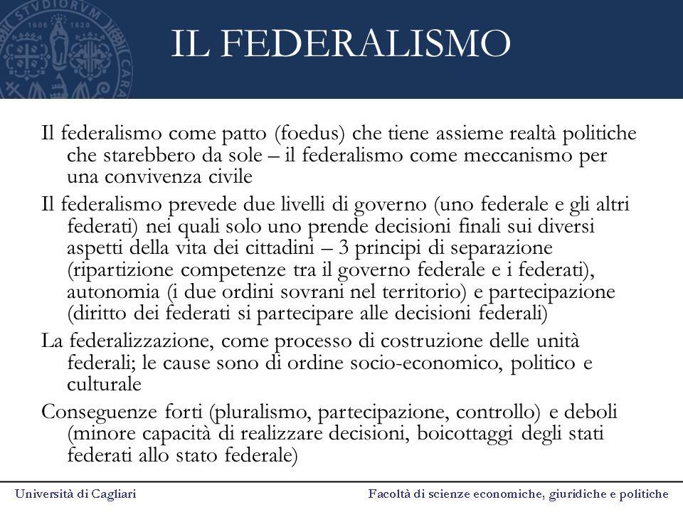IL FEDERALISMO Il federalismo come patto (foedus) che tiene assieme realtà politiche che starebbero da sole – il federalismo come meccanismo per una c