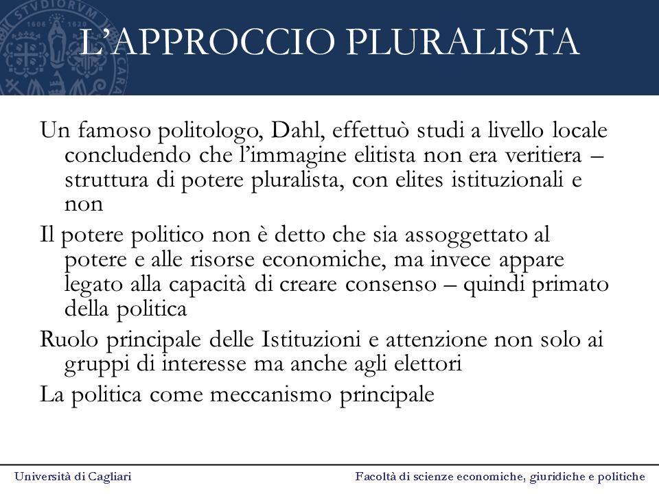 L'APPROCCIO PLURALISTA Un famoso politologo, Dahl, effettuò studi a livello locale concludendo che l'immagine elitista non era veritiera – struttura d