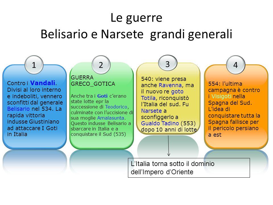 Le guerre Belisario e Narsete grandi generali 1 Contro i Vandali. Divisi al loro interno e indeboliti, vennero sconfitti dal generale Belisario nel 53
