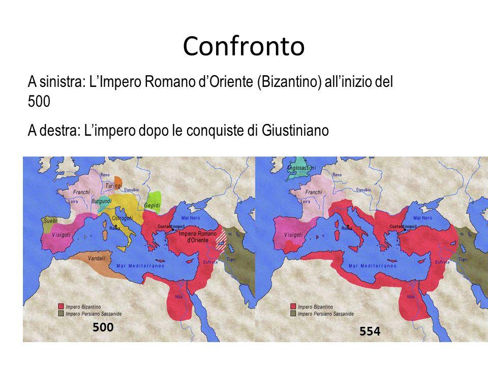 Confronto A sinistra: L'Impero Romano d'Oriente (Bizantino) all'inizio del 500 A destra: L'impero dopo le conquiste di Giustiniano 500 554