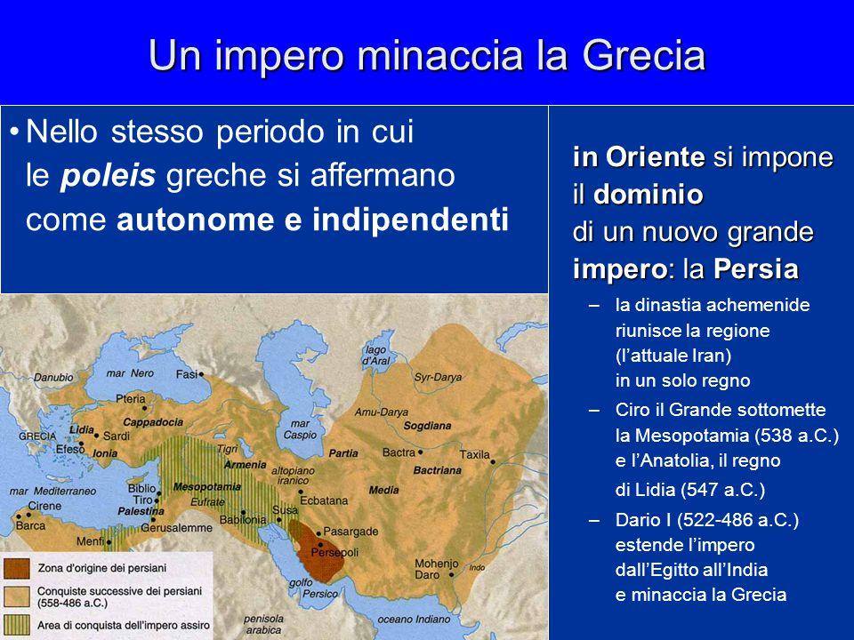 Un impero minaccia la Grecia in Oriente si impone il dominio di un nuovo grande impero: la Persia –la dinastia achemenide riunisce la regione (l'attua