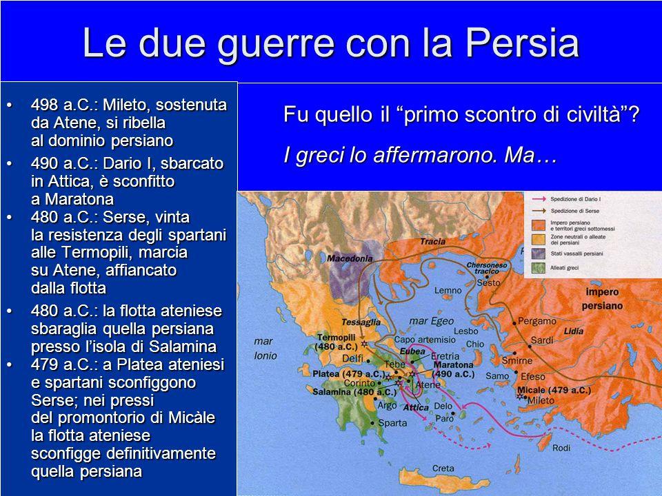 Le due guerre con la Persia 498 a.C.: Mileto, sostenuta da Atene, si ribella498 a.C.: Mileto, sostenuta da Atene, si ribella al dominio persiano 490 a.C.: Dario I, sbarcato in Attica, è sconfitto a Maratona490 a.C.: Dario I, sbarcato in Attica, è sconfitto a Maratona 480 a.C.: Serse, vinta la resistenza degli spartani alle Termopili, marcia su Atene, affiancato dalla flotta480 a.C.: Serse, vinta la resistenza degli spartani alle Termopili, marcia su Atene, affiancato dalla flotta 480 a.C.: la flotta ateniese sbaraglia quella persiana presso l'isola di Salamina480 a.C.: la flotta ateniese sbaraglia quella persiana presso l'isola di Salamina 479 a.C.: a Platea ateniesi e spartani sconfiggono Serse; nei pressi479 a.C.: a Platea ateniesi e spartani sconfiggono Serse; nei pressi del promontorio di Micàle la flotta ateniese sconfigge definitivamente quella persiana Fu quello il primo scontro di civiltà .