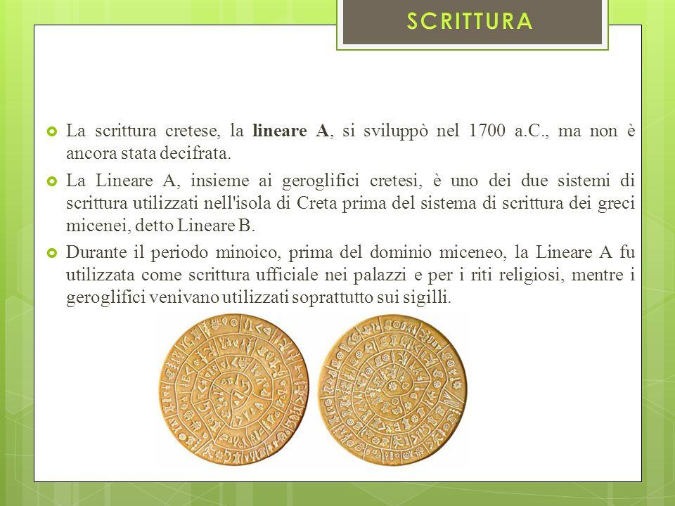  La scrittura cretese, la lineare A, si sviluppò nel 1700 a.C., ma non è ancora stata decifrata.  La Lineare A, insieme ai geroglifici cretesi, è un