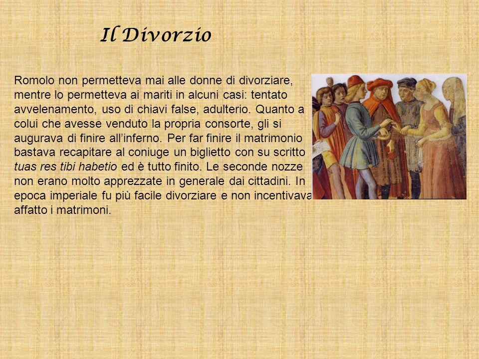 Il Divorzio Romolo non permetteva mai alle donne di divorziare, mentre lo permetteva ai mariti in alcuni casi: tentato avvelenamento, uso di chiavi fa