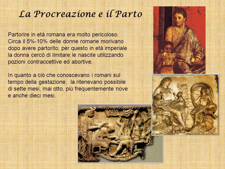 La Procreazione e il Parto Partorire in età romana era molto pericoloso. Circa il 5%-10% delle donne romane morivano dopo avere partorito; per questo