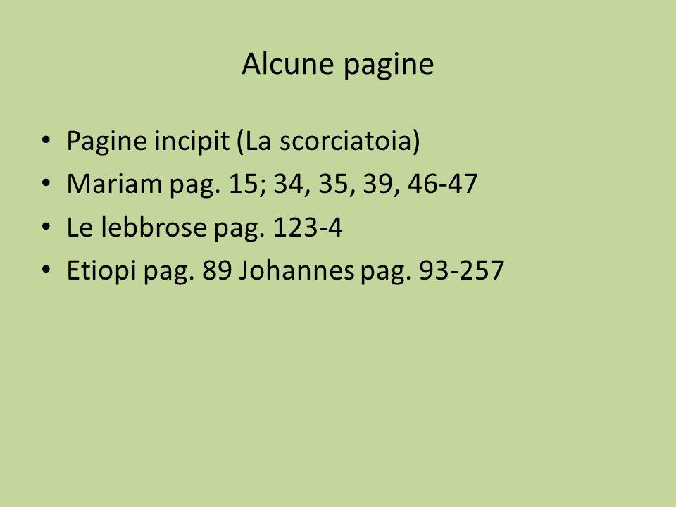 Alcune pagine Pagine incipit (La scorciatoia) Mariam pag. 15; 34, 35, 39, 46-47 Le lebbrose pag. 123-4 Etiopi pag. 89 Johannes pag. 93-257