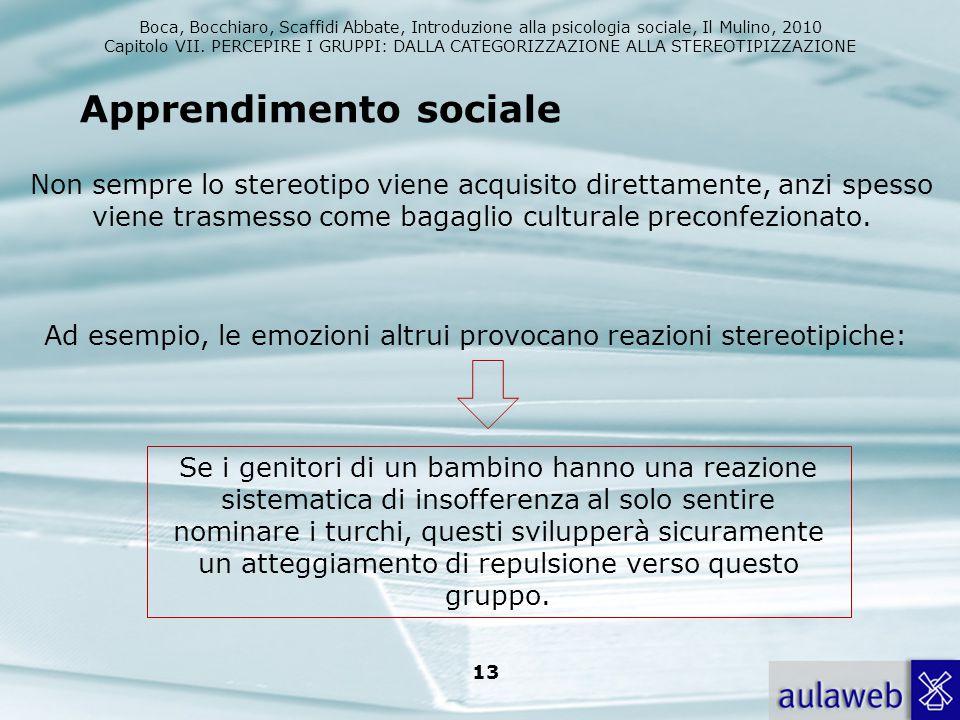 Boca, Bocchiaro, Scaffidi Abbate, Introduzione alla psicologia sociale, Il Mulino, 2010 Capitolo VII. PERCEPIRE I GRUPPI: DALLA CATEGORIZZAZIONE ALLA
