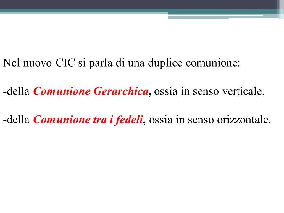 Nel nuovo CIC si parla di una duplice comunione: -della Comunione Gerarchica, ossia in senso verticale.