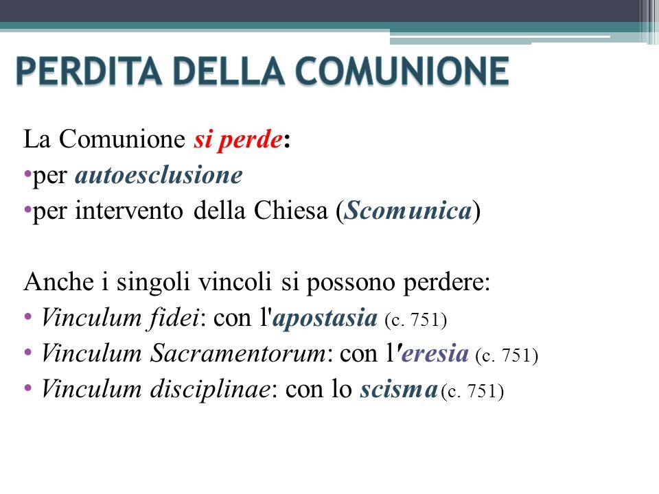 La Comunione si perde: per autoesclusione per intervento della Chiesa (Scomunica) Anche i singoli vincoli si possono perdere: Vinculum fidei: con l apostasia (c.