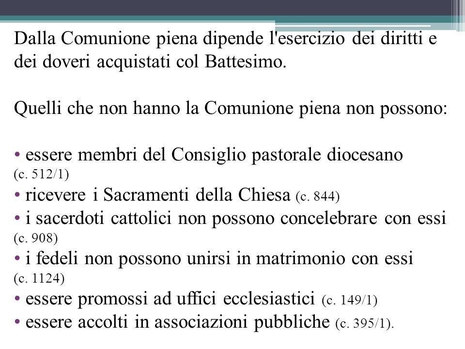 Dalla Comunione piena dipende l esercizio dei diritti e dei doveri acquistati col Battesimo.