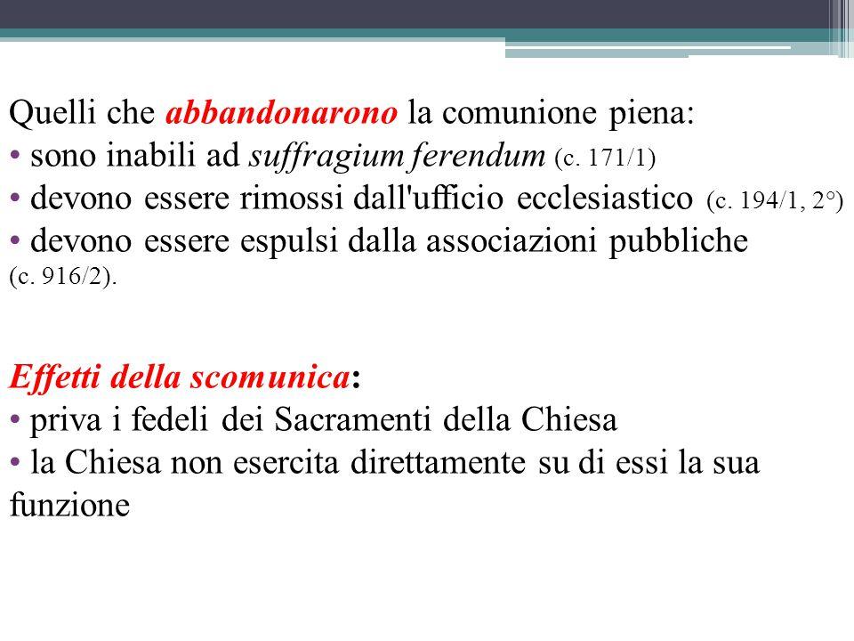 Quelli che abbandonarono la comunione piena: sono inabili ad suffragium ferendum (c.