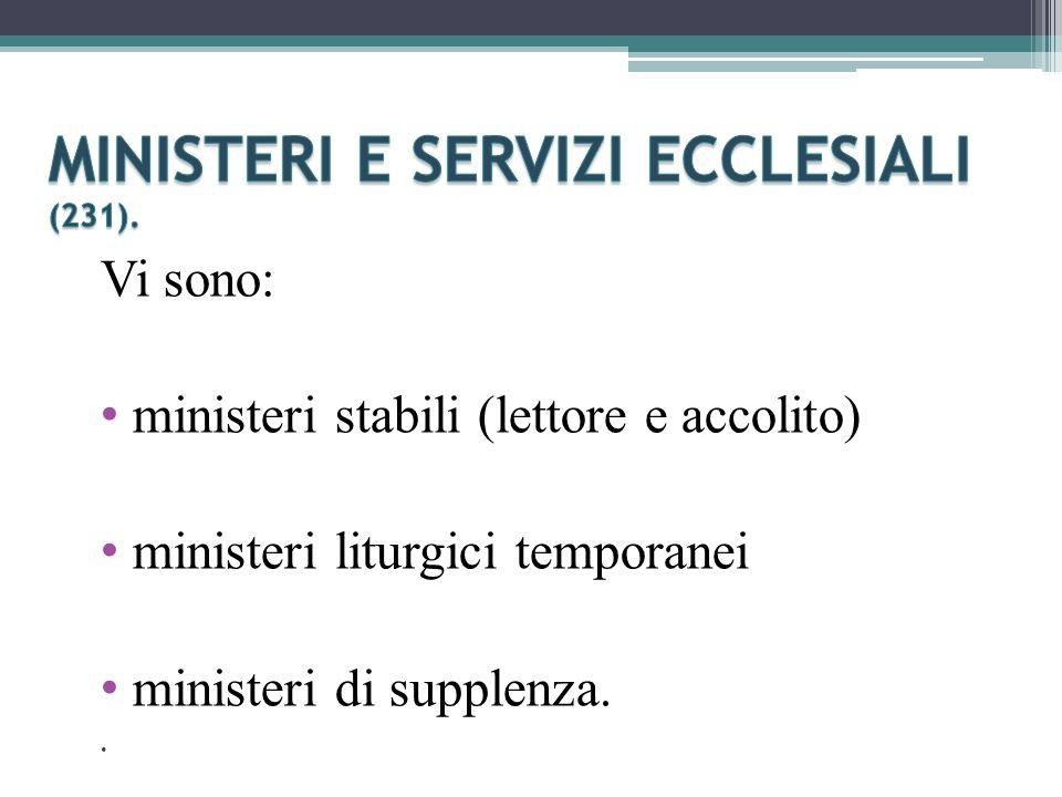 Vi sono: ministeri stabili (lettore e accolito) ministeri liturgici temporanei ministeri di supplenza..