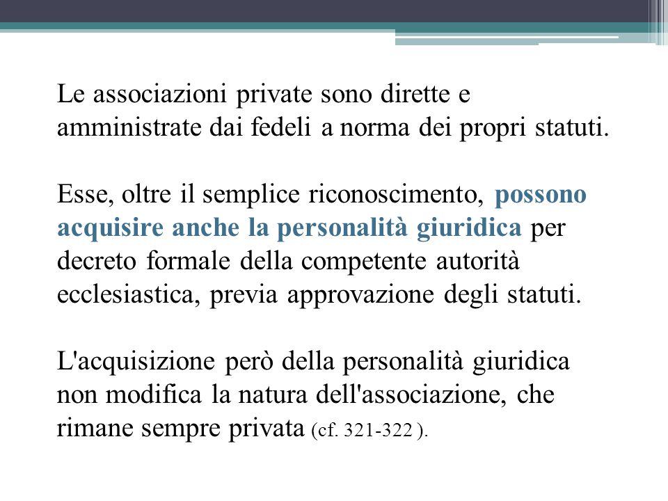 Le associazioni private sono dirette e amministrate dai fedeli a norma dei propri statuti.