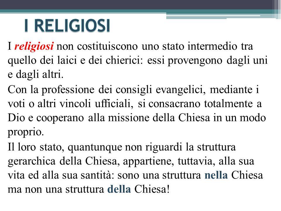I religiosi non costituiscono uno stato intermedio tra quello dei laici e dei chierici: essi provengono dagli uni e dagli altri.