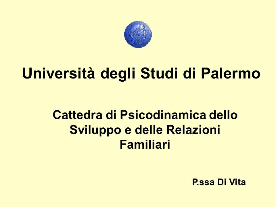 Università degli Studi di Palermo Cattedra di Psicodinamica dello Sviluppo e delle Relazioni Familiari P.ssa Di Vita