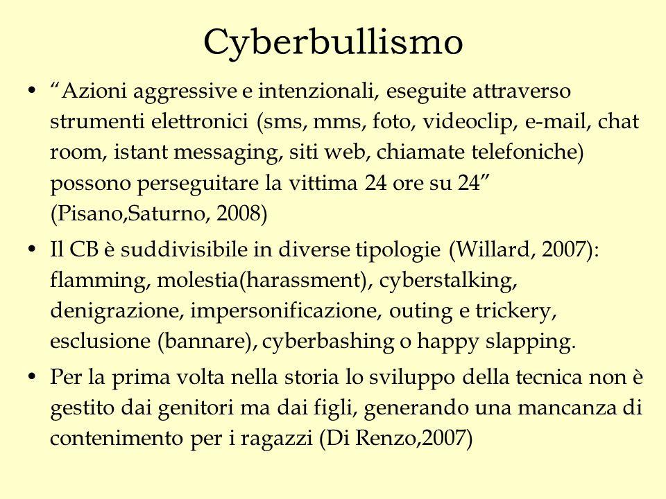 """Cyberbullismo """"Azioni aggressive e intenzionali, eseguite attraverso strumenti elettronici (sms, mms, foto, videoclip, e-mail, chat room, istant messa"""