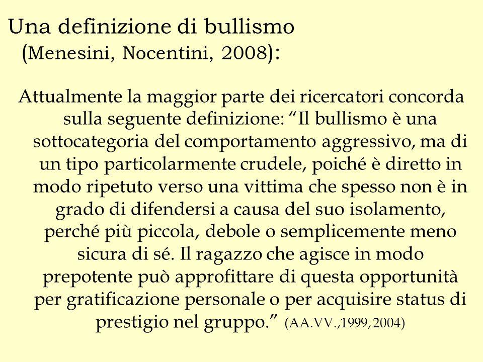 """Una definizione di bullismo ( Menesini, Nocentini, 2008 ): Attualmente la maggior parte dei ricercatori concorda sulla seguente definizione: """"Il bulli"""