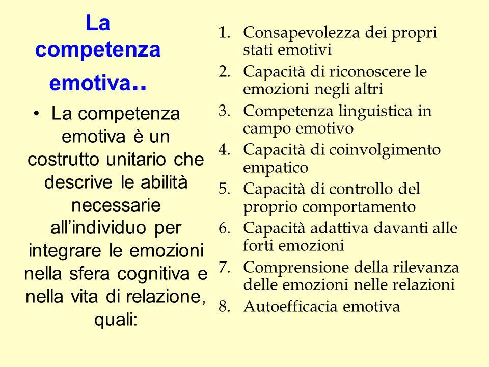 La competenza emotiva.. La competenza emotiva è un costrutto unitario che descrive le abilità necessarie all'individuo per integrare le emozioni nella