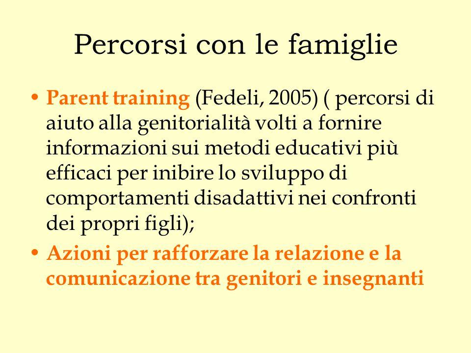 Percorsi con le famiglie Parent training (Fedeli, 2005) ( percorsi di aiuto alla genitorialità volti a fornire informazioni sui metodi educativi più e
