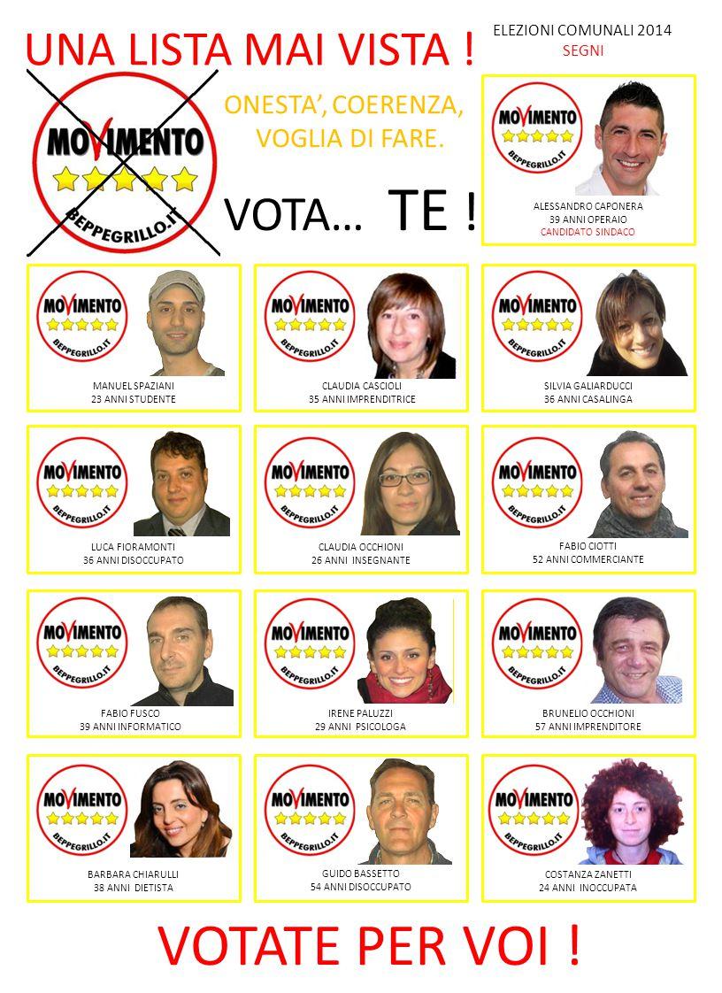 VOTATE PER VOI ! ELEZIONI COMUNALI 2014 SEGNI UNA LISTA MAI VISTA ! ONESTA', COERENZA, VOGLIA DI FARE. VOTA… TE ! ALESSANDRO CAPONERA 39 ANNI OPERAIO