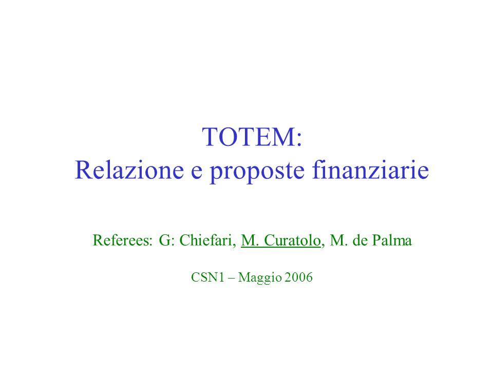 TOTEM: Relazione e proposte finanziarie Referees: G: Chiefari, M. Curatolo, M. de Palma CSN1 – Maggio 2006