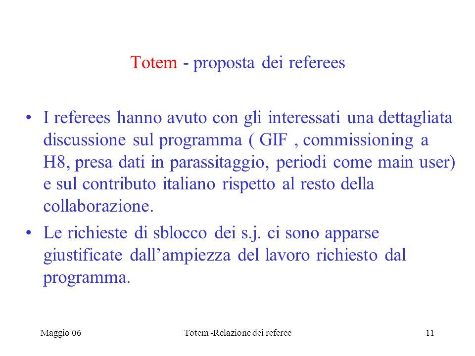 Maggio 06Totem -Relazione dei referee11 Totem - proposta dei referees I referees hanno avuto con gli interessati una dettagliata discussione sul programma ( GIF, commissioning a H8, presa dati in parassitaggio, periodi come main user) e sul contributo italiano rispetto al resto della collaborazione.