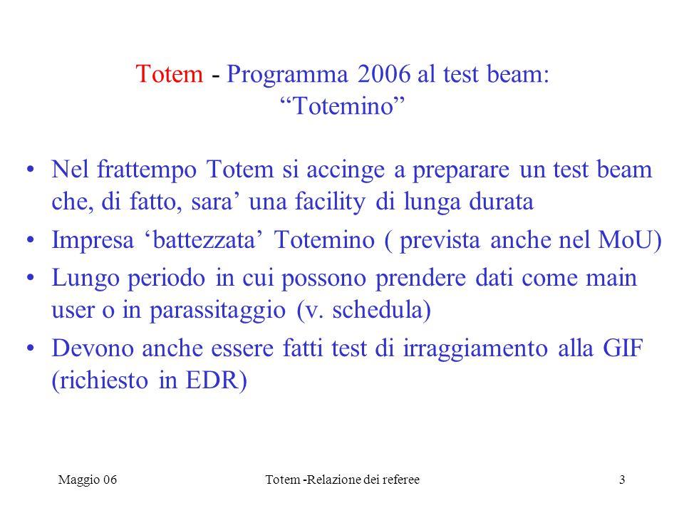 Maggio 06Totem -Relazione dei referee3 Totem - Programma 2006 al test beam: Totemino Nel frattempo Totem si accinge a preparare un test beam che, di fatto, sara' una facility di lunga durata Impresa 'battezzata' Totemino ( prevista anche nel MoU) Lungo periodo in cui possono prendere dati come main user o in parassitaggio (v.