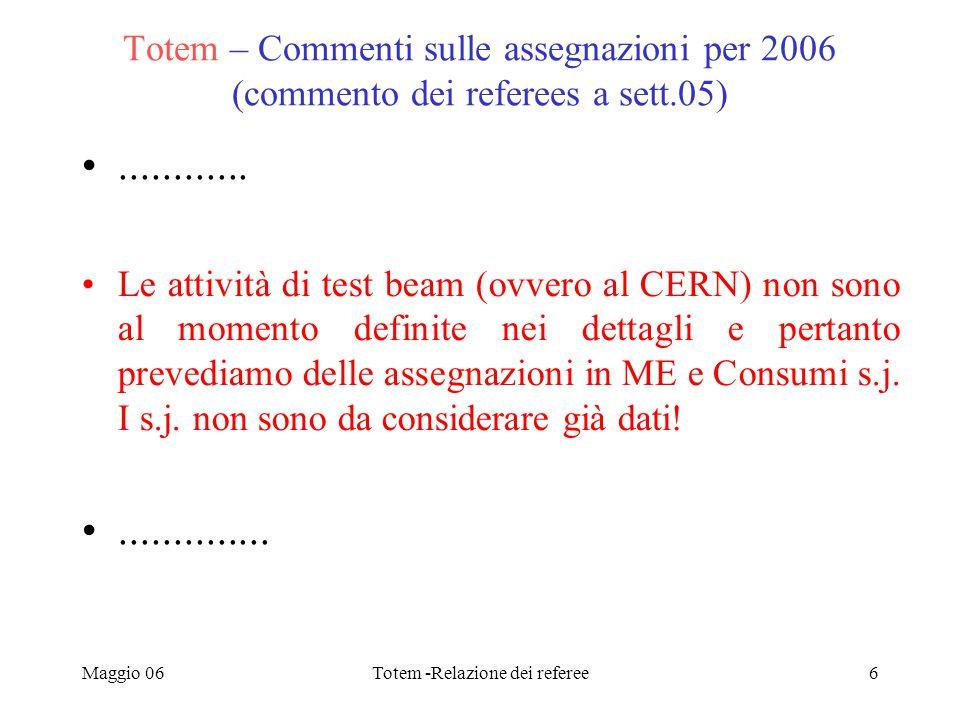 Maggio 06Totem -Relazione dei referee6 Totem – Commenti sulle assegnazioni per 2006 (commento dei referees a sett.05)............ Le attività di test