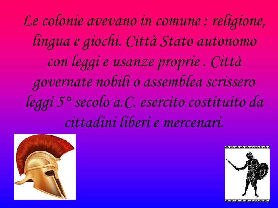 Le colonie avevano in comune : religione, lingua e giochi. Città Stato autonomo con leggi e usanze proprie. Città governate nobili o assemblea scrisse