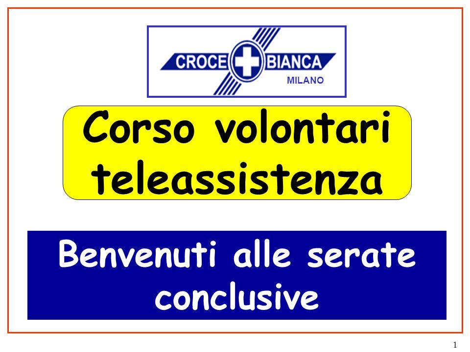 1 Corso volontari teleassistenza Benvenuti alle serate conclusive MILANO
