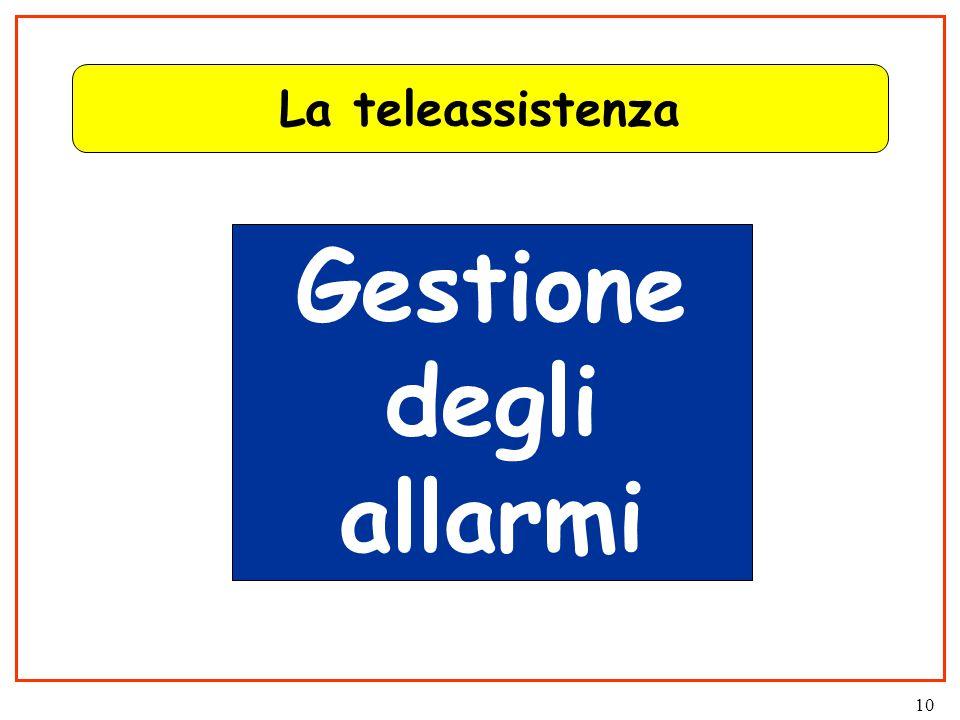 10 La teleassistenza Gestione degli allarmi