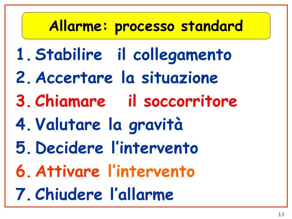 13 Allarme: processo standard 1.Stabilire il collegamento 2.Accertare la situazione 3.Chiamare il soccorritore 4.Valutare la gravità 5.Decidere l'intervento 6.Attivare l'intervento 7.Chiudere l'allarme