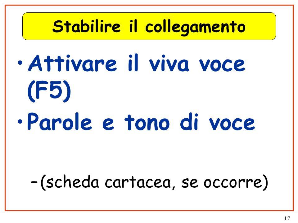 17 Stabilire il collegamento Attivare il viva voce (F5) Parole e tono di voce –(scheda cartacea, se occorre)