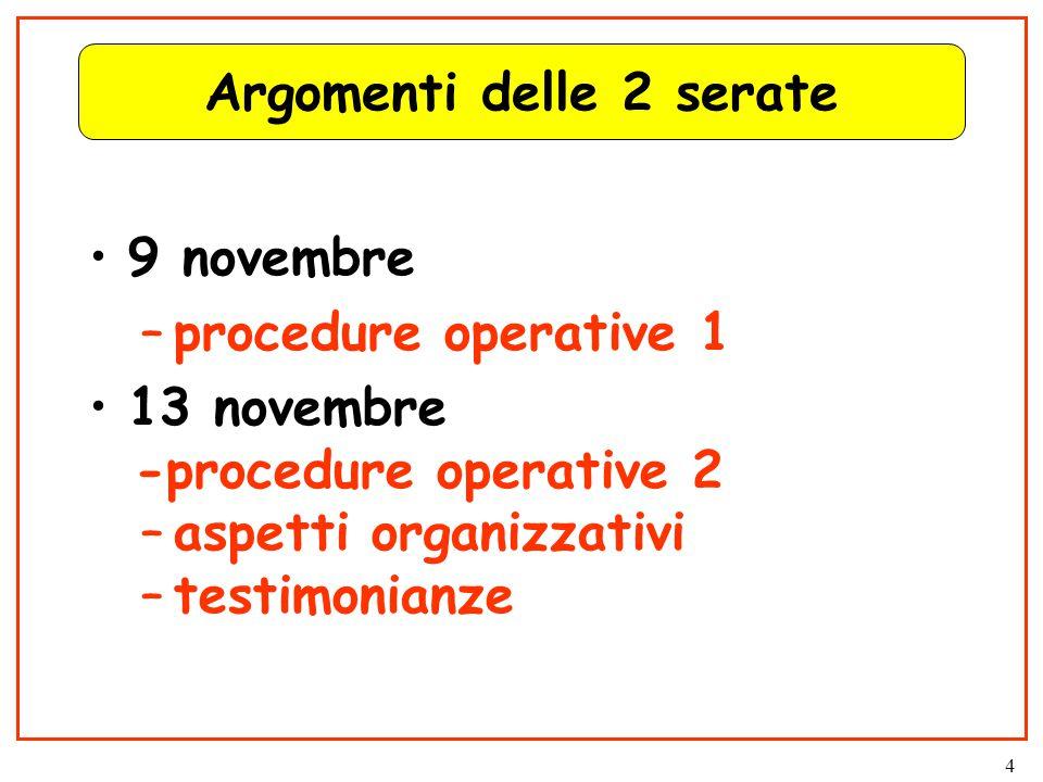 4 Argomenti delle 2 serate 9 novembre –procedure operative 1 13 novembre -procedure operative 2 –aspetti organizzativi –testimonianze