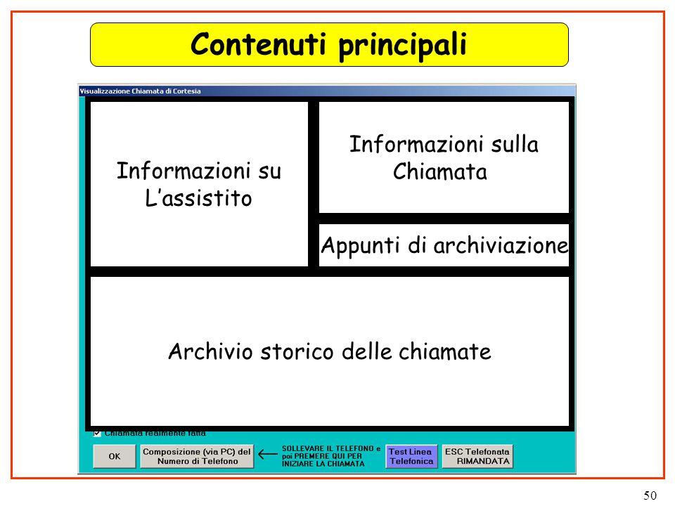 50 Contenuti principali Informazioni su L'assistito Archivio storico delle chiamate Informazioni sulla Chiamata Appunti di archiviazione