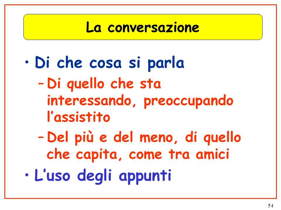 54 La conversazione Di che cosa si parla –Di quello che sta interessando, preoccupando l'assistito –Del più e del meno, di quello che capita, come tra amici L'uso degli appunti