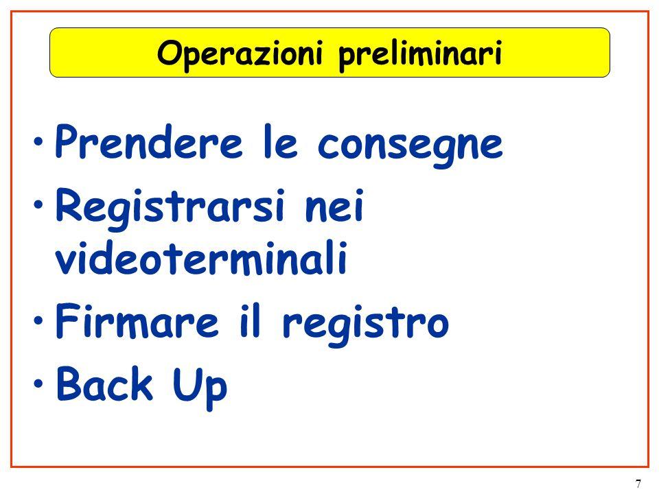 7 Operazioni preliminari Prendere le consegne Registrarsi nei videoterminali Firmare il registro Back Up