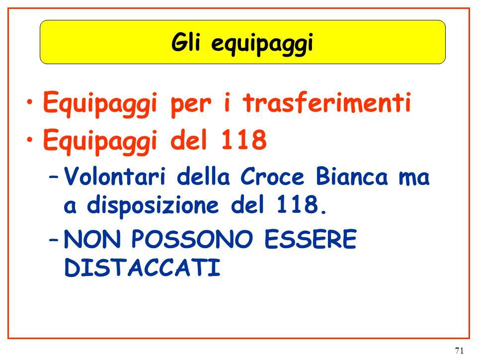 71 Gli equipaggi Equipaggi per i trasferimenti Equipaggi del 118 –Volontari della Croce Bianca ma a disposizione del 118.