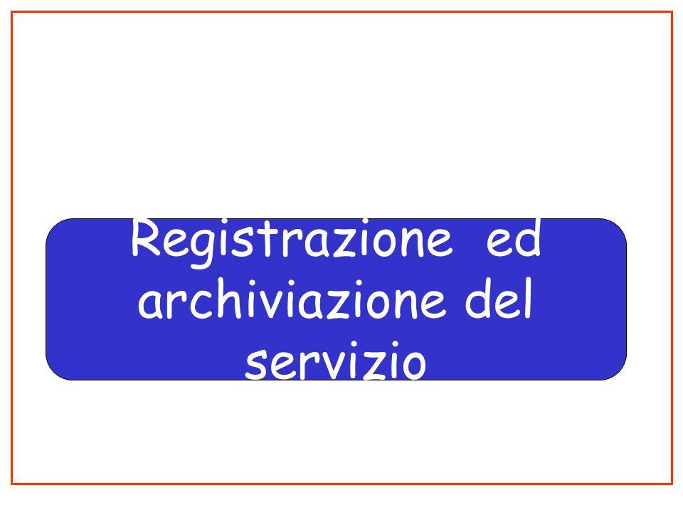 Registrazione ed archiviazione del servizio
