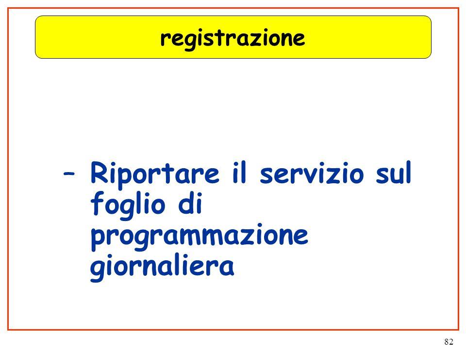 82 registrazione –Riportare il servizio sul foglio di programmazione giornaliera