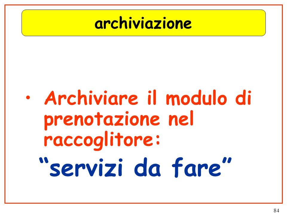 84 archiviazione Archiviare il modulo di prenotazione nel raccoglitore: servizi da fare