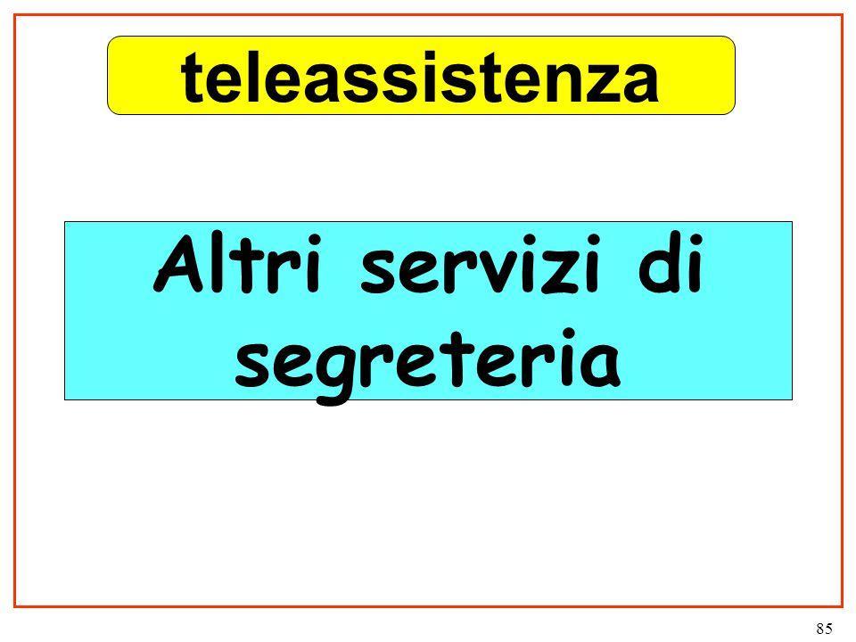 85 Altri servizi di segreteria teleassistenza