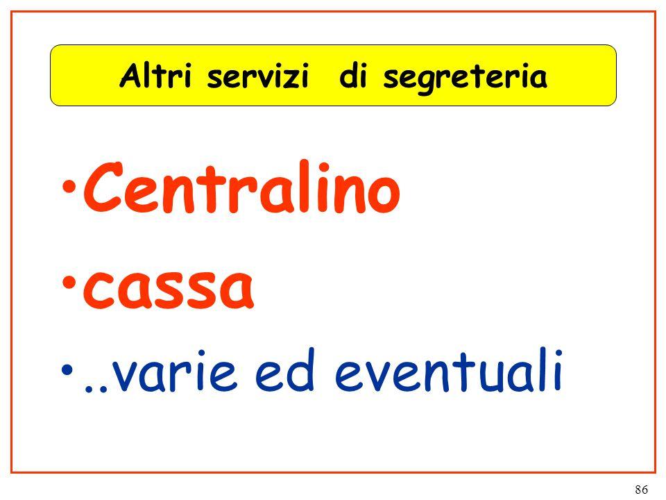 86 Altri servizi di segreteria Centralino cassa..varie ed eventuali