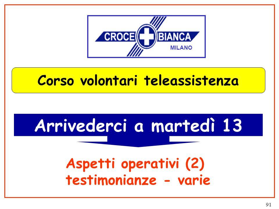 91 Corso volontari teleassistenza Arrivederci a martedì 13 MILANO Aspetti operativi (2) testimonianze - varie