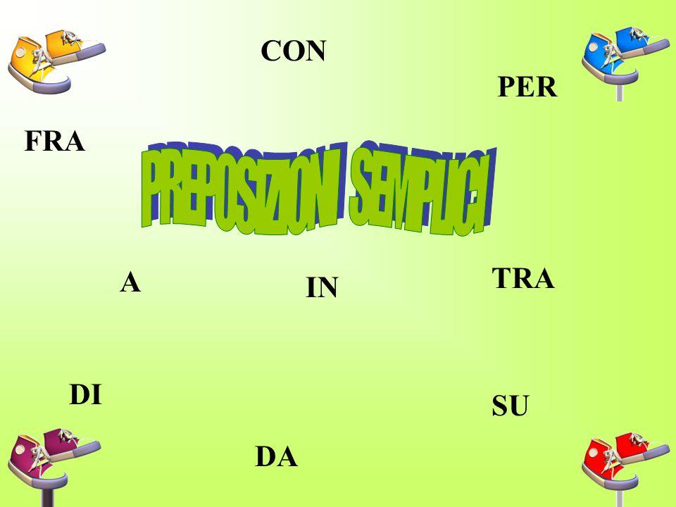 La preposizione e' la parte invariabile del discorso che, davanti a sostantivi, aggettivi pronomi,infiniti di verbi,indica la relazione che passa fra
