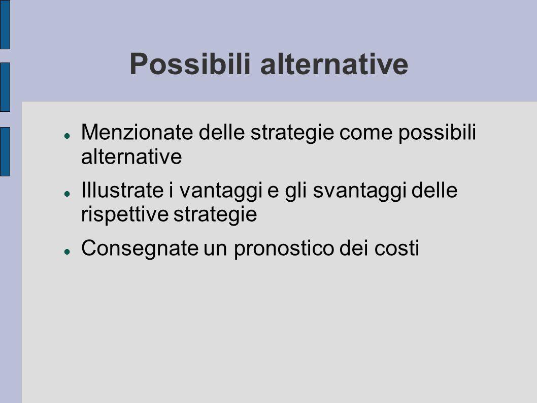 Possibili alternative Menzionate delle strategie come possibili alternative Illustrate i vantaggi e gli svantaggi delle rispettive strategie Consegnat